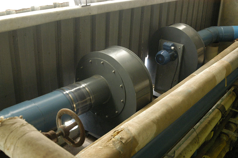 Two polypropylene blowers and PVC ductwork for noxious gas extraction.